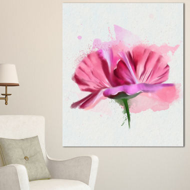 Designart Hand Drawn Pink Rose Watercolor FloralCanvas Art Print