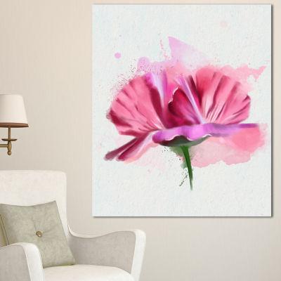 Designart Hand Drawn Pink Rose Watercolor FloralCanvas Art Print - 3 Panels