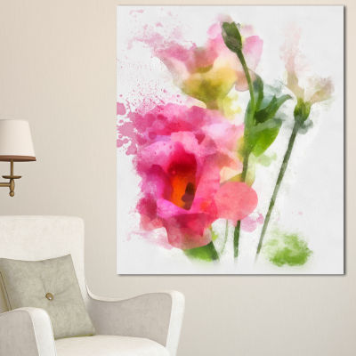 Designart Hand Drawn Pink Watercolor Flower FloralCanvas Art Print - 3 Panels