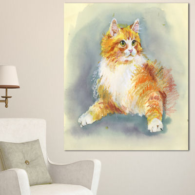 Designart Hand Drawn Watercolor Cat Animal CanvasWall Art