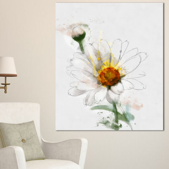 Designart Hand Drawn Watercolor Chamomile FloralCanvas Art Print