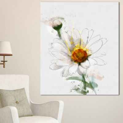 Designart Hand Drawn Watercolor Chamomile Floral Canvas Art Print
