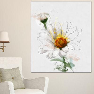 Designart Hand Drawn Watercolor Chamomile FloralCanvas Art Print - 3 Panels