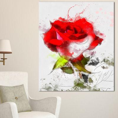 Designart Hand Drawn Watercolor Rose Flower FloralCanvas Art Print