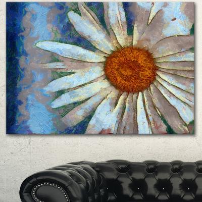 Designart Hand Drawn White Chamomile Flower FlowerArtwork On Canvas
