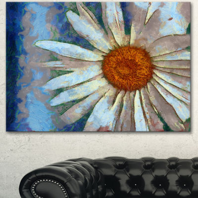 Design Art Hand Drawn White Chamomile Flower FlowerArtwork On Canvas - 3 Panels