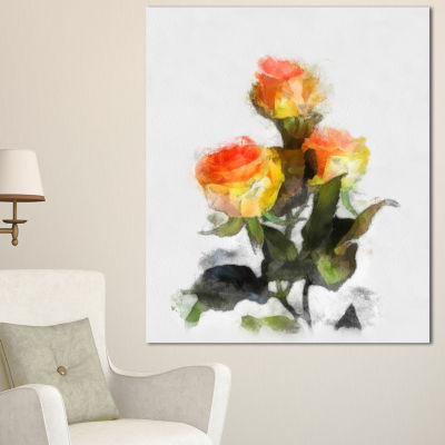 Designart Hand Drawn Yellow And Red Roses FloralCanvas Art Print