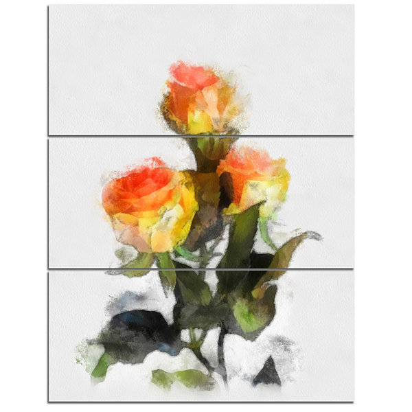Designart Hand Drawn Yellow And Red Roses FloralCanvas Art Print - 3 Panels