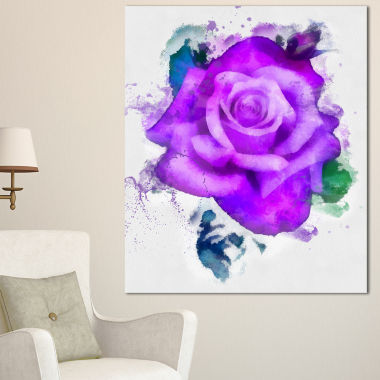 Designart Hand Made Purple Rose Watercolor FloralCanvas Art Print