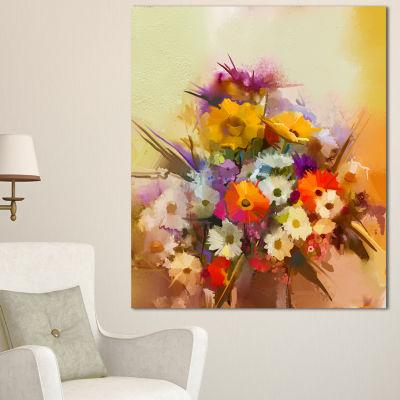 Designart Hand Painted Bouquet Of Flowers Large Floral Canvas Art Print - 3 Panels