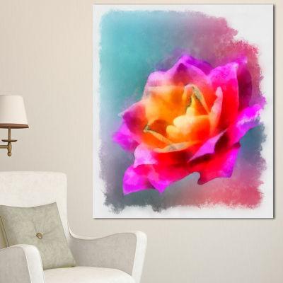 Designart Handmade Purple Rose Drawing Floral Canvas Art Print