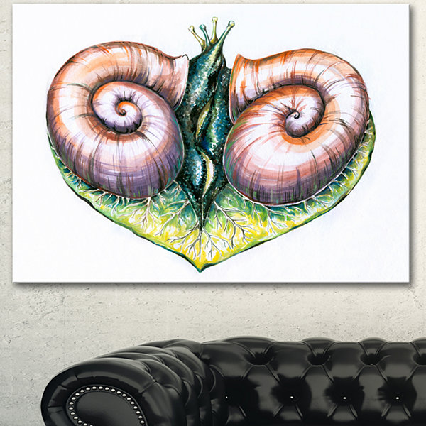 Designart Heart With Two Snails In Love Animal Canvas Art Print