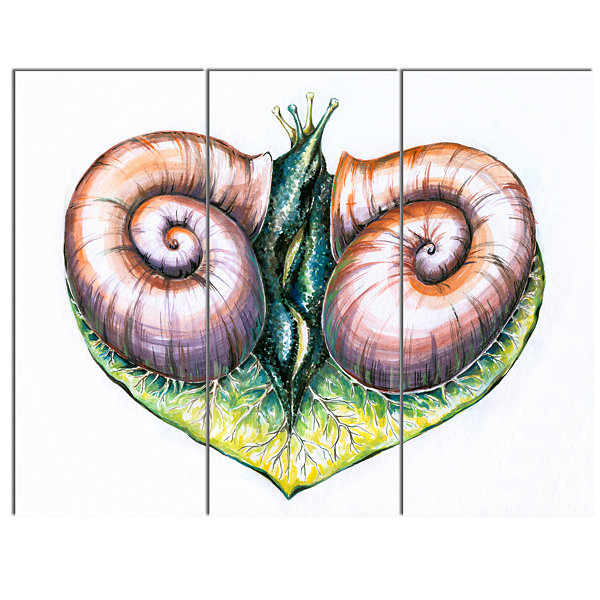 Designart Heart With Two Snails In Love Animal Canvas Art Print - 3 Panels