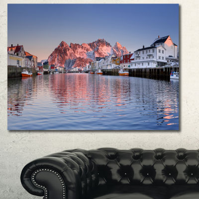 Designart Henningsvaer On The Lofoten Norway Modern Landscape Canvas Art - 3 Panels