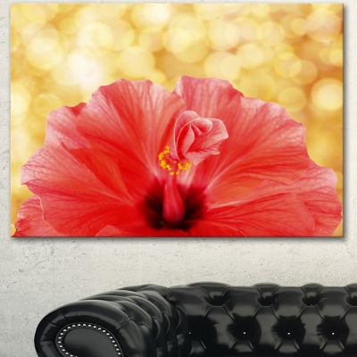Designart Hibiscus Flower With Lit Up BackgroundLarge Floral Canvas Artwork