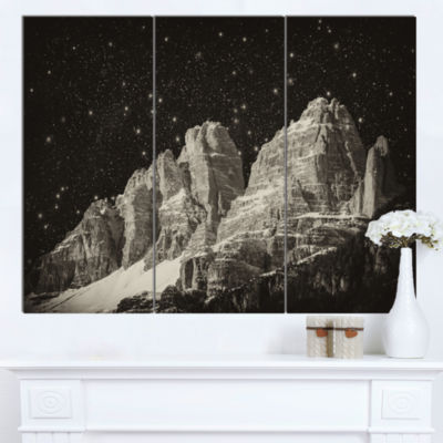 Designart High Peaks Of Dolomites Italian Alps Extra Large Landscape Canvas Art Print - 3 Panels