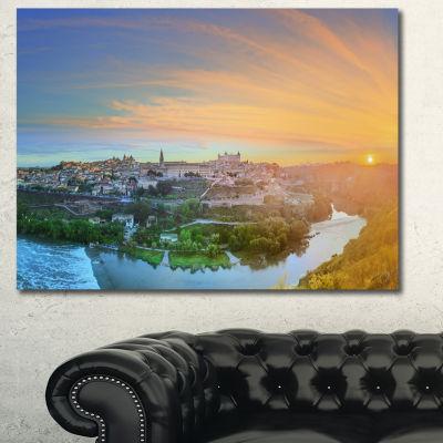 Design Art Hill Over The Tagus River Spain Landscape Canvas Art Print - 3 Panels