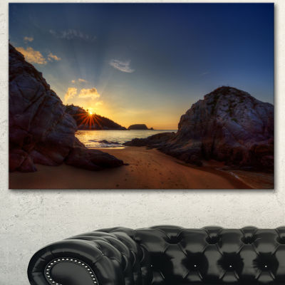 Designart Hills In Beautiful Mountain Beach ExtraLarge Landscape Canvas Art Print - 3 Panels