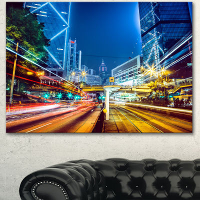 Designart Hong Kong City Night Scene Large Cityscape Art Print On Canvas