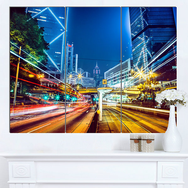 Designart Hong Kong City Night Scene Large Cityscape Art Print On Canvas - 3 Panels