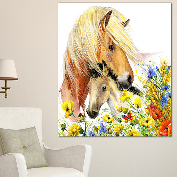 Designart Horse And Foal With Meadow Animal CanvasArt Print