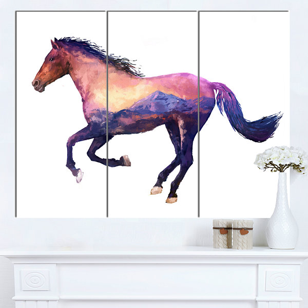 Designart Horse Double Exposure Illustration LargeAnimal Canvas Art Print - 3 Panels
