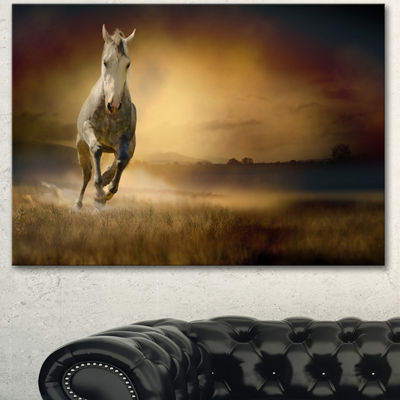 Designart Horse Galloping Through Valley Animal Canvas Wall Art - 3 Panels