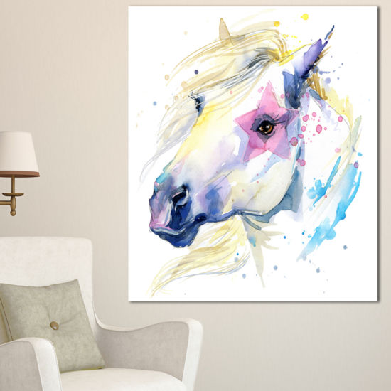 Designart Horse Illustration With Splash Animal Canvas Art Print