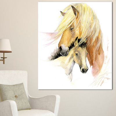 Design Art Horse Mom Baby Watercolor Animal CanvasArt Print - 3 Panels