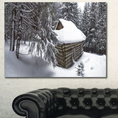 Designart House In Magic Winter Forest LandscapeCanvas Art Print