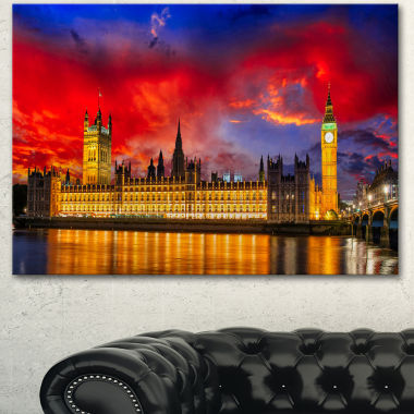 Designart House Of Parliament At River Thames Modern Cityscape Canvas Art Print