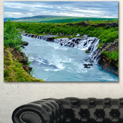Designart Hraunfossar Waterfall Iceland Modern Landscape Canvas Art - 3 Panels