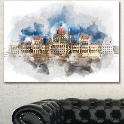 Designart Hungarian Parliament Building Extra Large Canvas Art Print - 3 Panels