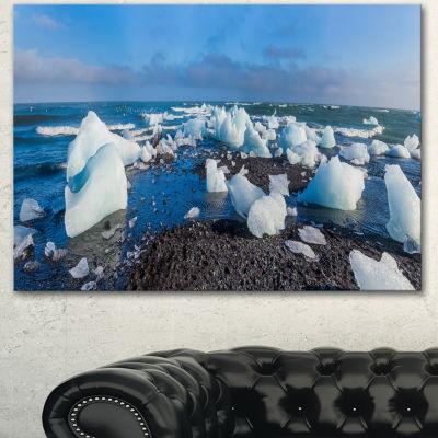 Designart Ice Blocks On Sand Beach Seashore PhotoCanvas Art Print - 3 Panels