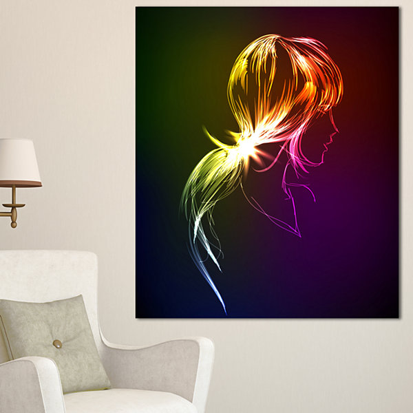 Designart Illuminating Fractal Girl S Head LargeAbstract Canvas Wall Art