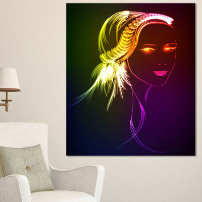 Design Art Illuminating Girl S Head Fractal ModernPortrait Canvas Art