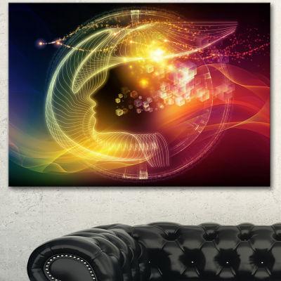 Designart Illuminating Human Head Fractal AbstractCanvas Wall Art Print