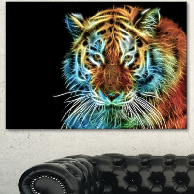 Design Art Illuminating Tiger Head View Contemporary Animal Art Canvas