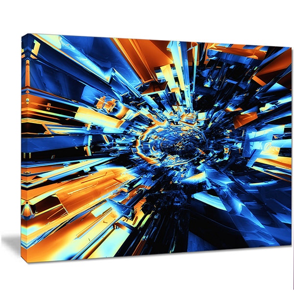 Design Art Into The Center Blue Fractal Design Abstract Canvas Wall Art Print