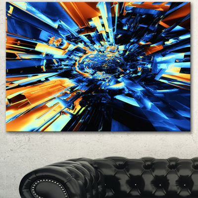 Designart Into The Center Blue Fractal Design Abstract Canvas Wall Art Print - 3 Panels