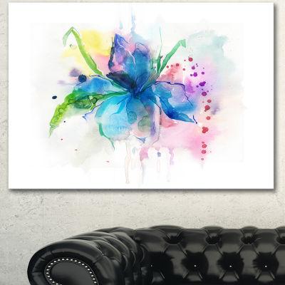 Designart Iris Watercolor Illustration Art LargeAnimal Canvas Art Print