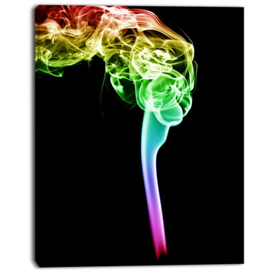 Designart Isolated Abstract Smoke On Black Abstract Canvas Wall Art Print