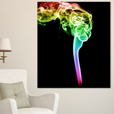 Designart Isolated Abstract Smoke On Black Abstract Canvas Wall Art Print - 3 Panels