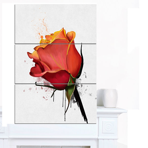 Designart Isolated Red Rose Watercolor Sketch Floral Canvas Art Print - 3 Panels