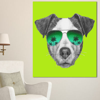 Designart Jack Russell In Green Glasses Contemporary Animal Art Canvas - 3 Panels