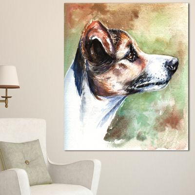 Designart Jack Russell Terrier Animal Canvas ArtPrint - 3 Panels