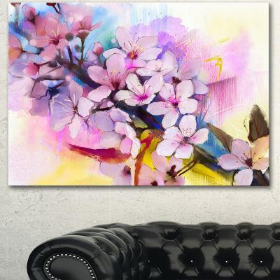Designart Japanese Cherry Blossoms Watercolor Floral Canvas Art Print
