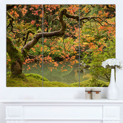 Designart Japanese Garden Fall Season Large Landscape Canvas Art - 3 Panels