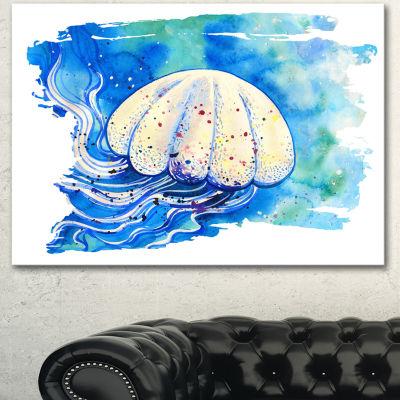 Designart Jellyfish Watercolor Painting Abstract Canvas Art Print