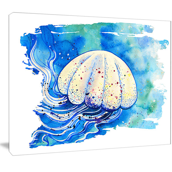 Designart Jellyfish Watercolor Painting AbstractCanvas Art Print